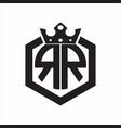 rr logo monogram rounded hexagon shape vector image vector image