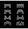 Set line icons of bridges vector image vector image