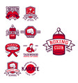 set of cool fighting club emblems martial training vector image vector image