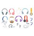 set of earphones headphones wired and wireless vector image