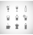 set of icons with beverages vector image