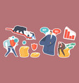 set stickers bear market at covid-19 pandemic vector image vector image
