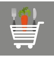 shopping cart carrot food vector image vector image