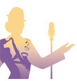 silhouette of woman singer and woman playing vector image vector image