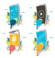 smartphone addiction icon set isolated vector image vector image