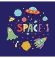 Space Objects in Cartoon Style Collection vector image vector image
