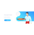 waiter holding plate with hot pizza restaurant vector image