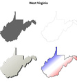 West Virginia outline map set vector image vector image