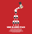 Wine Glasses Stack On Red Background vector image vector image
