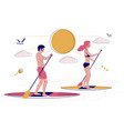 young couple paddling sup boards vector image