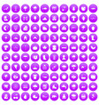 100 clouds icons set purple vector image vector image