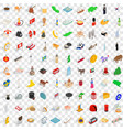 100 kingdom icons set isometric 3d style vector image vector image