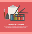 artist paiting materials tools art vector image