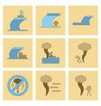 assembly flat icons nature disaster tsunami vector image vector image