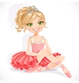 Beautiful ballerina girl in pink dress sit on vector image vector image