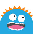 blue monster head with two eyes teeth tongue vector image vector image