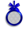 Card Blue medallion with ribbon and place for an vector image vector image