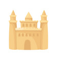 cartoon icon of big sandcastle with three towers vector image vector image