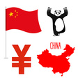 China symbol icons set Map and flag of country vector image vector image