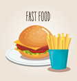 delicious burger and fries potatoes fast food icon vector image vector image