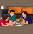 family playing a board game vector image vector image