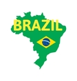 Flat simple Brazil map vector image vector image