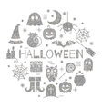 Halloween silver icons set in circle shape vector image vector image