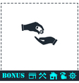 Handing money icon flat vector image vector image