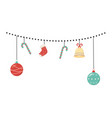 hanging decoration cane ball bell sock celebration vector image