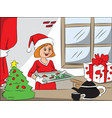 happy woman with christmas cookies on tray vector image