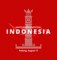 independence day indonesia padang city mascot vector image vector image