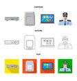 isolated object of office and house icon vector image vector image
