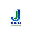 judo icon for combat sport club emblem design vector image