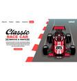 landing page design classic race car garage vector image vector image