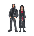man and woman with long loose hair dressed in vector image vector image