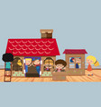 many kids playing in playhouse vector image vector image