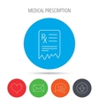 Medical prescription icon Health document sign vector image vector image