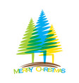merry christmas tree design vector image vector image