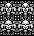 mexical skull and flowers seamless pattern vector image