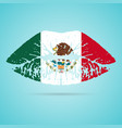 mexico flag lipstick on the lips isolated on a vector image