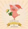 new year piggy with christmas santa red cap box vector image