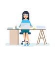 office worker in strict clothes working at vector image vector image