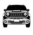 offroad truck crossover black silhouette front vi vector image vector image