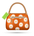 Orange woman spring bag with chamomiles flowers vector image vector image