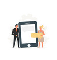 people hold a large phone concept business vector image vector image