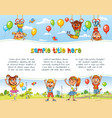 playground happy children holding blank poster vector image vector image