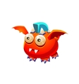 Red Fantastic Friendly Pet Dragon With Blue Mohawk vector image vector image