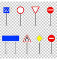 road street traffic signs isolated on transparent vector image