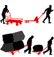 set black silhouette hard worker pushing vector image vector image