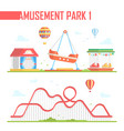 set of amusement park elements - modern vector image